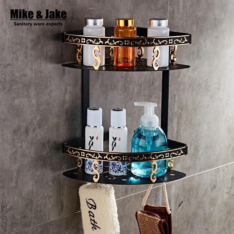 Bathroom shelf black aluminum double layer bathroom corner shelf bathroom holder shower room basket bathroom accessories MH7001 double black бермуды