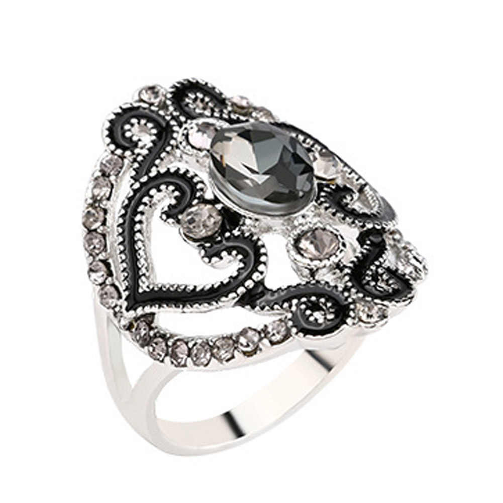 1Pc Carving Pattern Hollow Rings For Men Women Antique Alloy Ring Birthday Present Jewelry