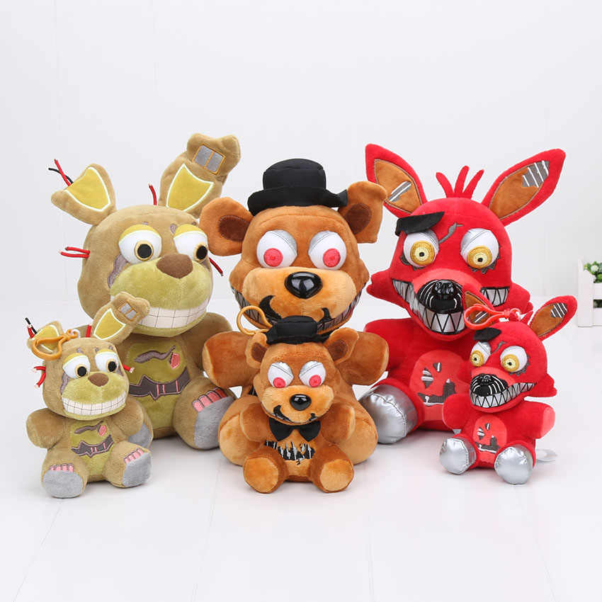 3pcs/lot Cartoon 15cm/25cm Five Nights At Freddy's FNAF Nightmare Freddy Nightmare Foxy Bonnie Springtrap Plush Toys Pendants