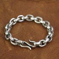 LINSION 925 Sterling Silver Fish hook clasp Mens Chain Biker Punk Bracelet TA140