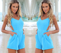BK 2015 Hot Playsuits Summer Holiday Beach Rompers Sexy V-neck Backless Jumpsuit Women
