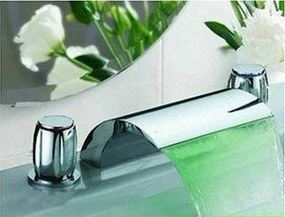 Deck-mounted Widespread Chrome 3 Pcs Bathroom Faucet Lavatory Basin Sink Mixer Tap flg free shipping 3 pcs tap waterfall bathroom basin sink bathtub mixer faucet chrome finish with strainer deck mounted taps 303