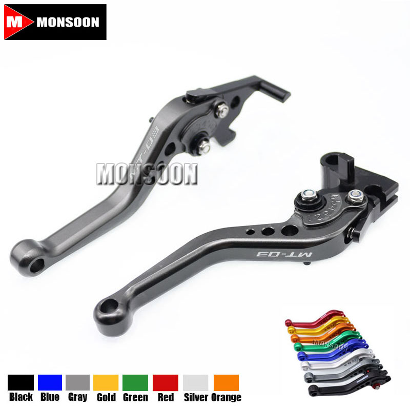 LOGO MT-03 For YAMAHA MT-03 MT 03 MT03 2015 2016 2017 2018 Motorcycle Accessories Aluminum short Brake Clutch Levers Gray for yamaha mt 03 2015 2016 mt 25 2015 2016 mobile phone navigation bracket