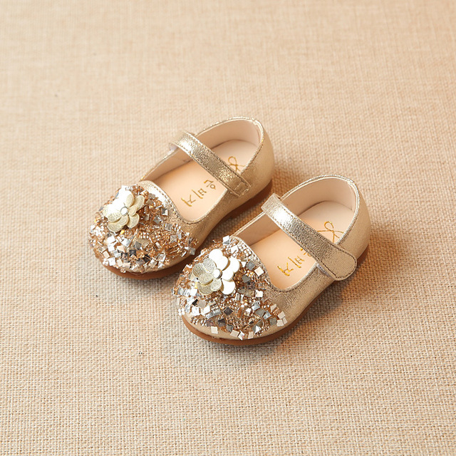 2018 NEW  0-2Y Girls Shoes Gold Flower Baby Walking Whoes Twinkle Sliver Toddler Shoes For Girls Princess Dress Shoes