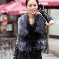 2016 Nova Inverno Genuine Prata Fox Colete De Pele Com As Mulheres Borla moda Real Fox Fur Gilet Quente Casaco Sem Mangas de Pele De Raposa Naturais