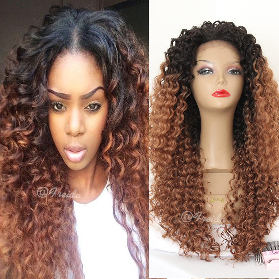Brown Ombre Afro Kinky curly synthetic lace front wig ...