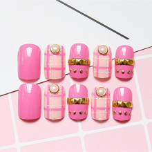 Shiny Fake Nails Rose Pink Acrylic False Nails Dotted Line 3D Rivet Beads Finger Makeup Manicure Tools Z023