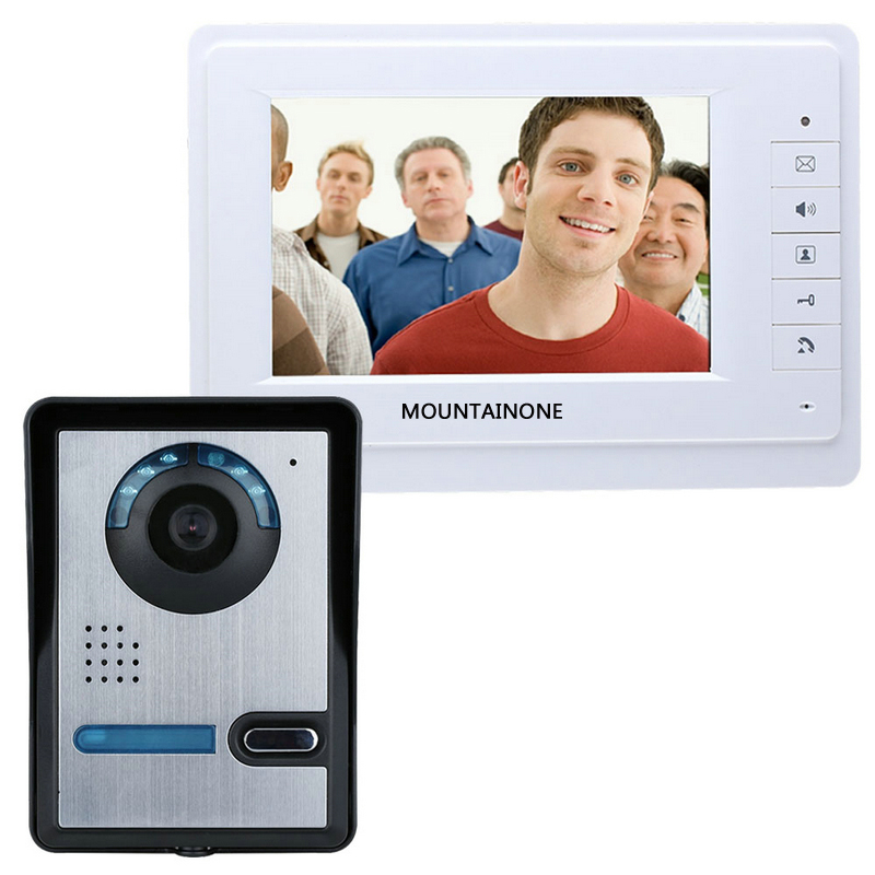 Free shipping door phone Intercom system 7'' wired color video doorbell kit IR 1 outdoor camera +1 monitor 819FA11 free shipping 7 wired video door phone access control doorbell intercom system kit 2 camera 1 monitor ir night vision 817mkw21