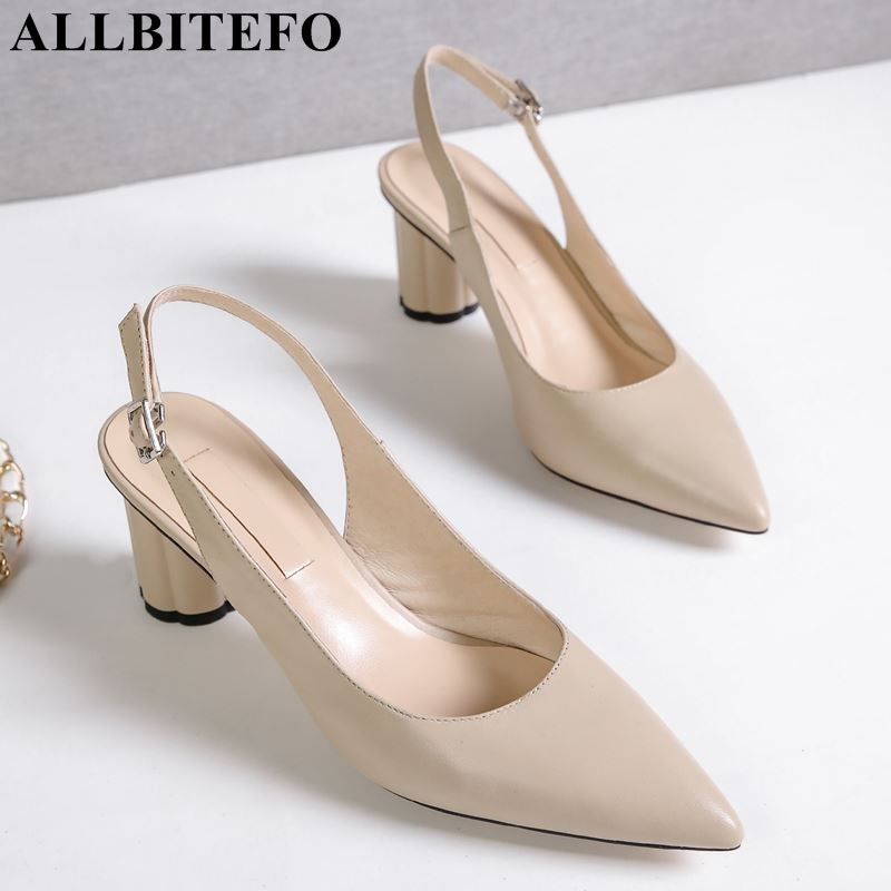 ALLBITEFO natural genuine leather women sandals pointed toe high heel shoes sexy fashion sandals girls shoes