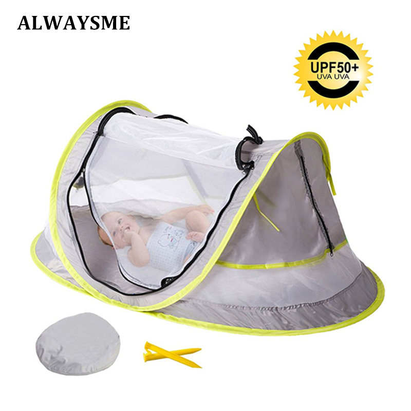 ALWAYSME Baby Infant Kids Travel Bed Tent  Portable Folding Pop up Baby Beach Tent Cot UPF 50+ Sun Shelters with Mosquito Net