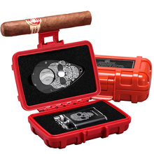 CIGARLOONG Grimace Personality Cigar Set with Lighter And Cutter Sccisors Portable Travel Case Box CQ-0130