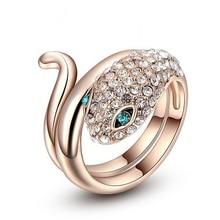 Austrian Crystal Rose Gold Blue Eyed Snake Ring Women Fashion Finger Ring недорого