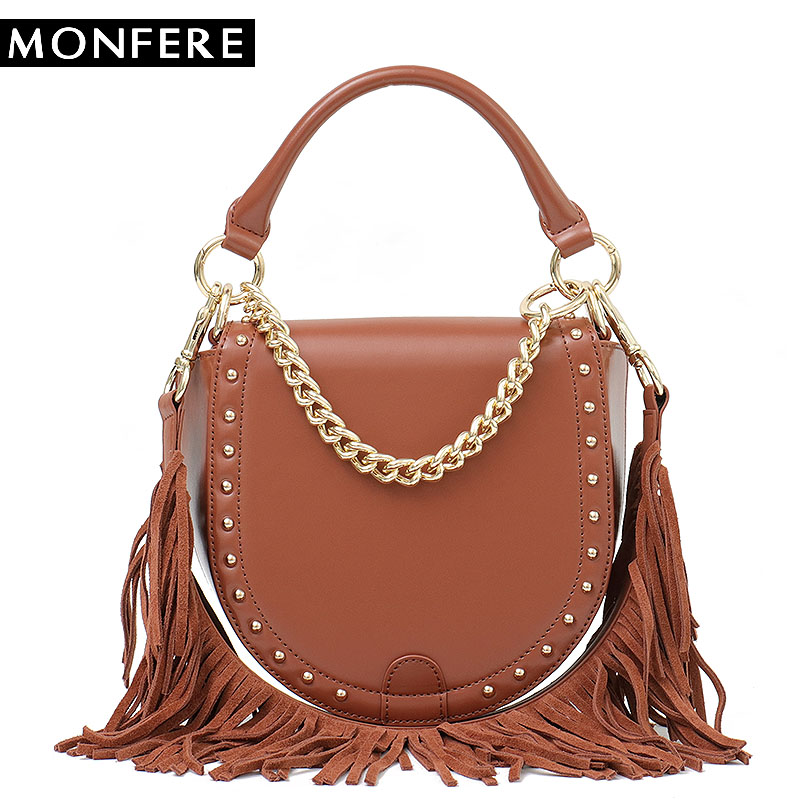 MONFERE Brand Designer Vintage Genuine Leather Women Saddle Bags Female Small Shoulder Tassel Cowhide Flap Chain Round Handbags