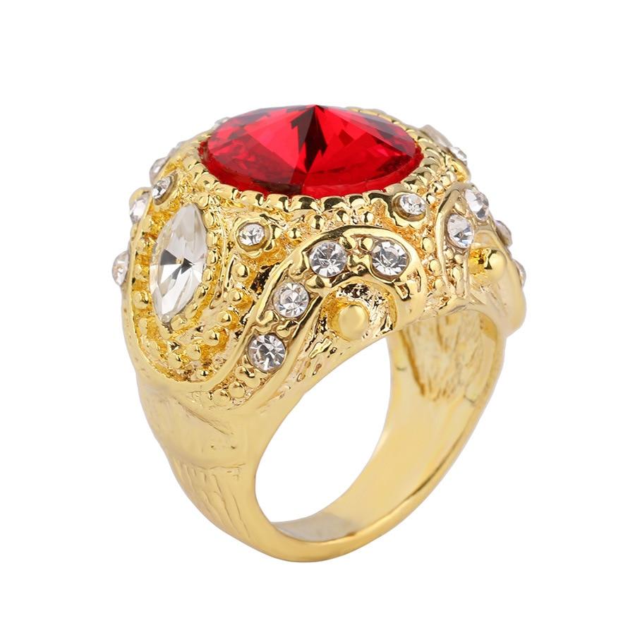 Joyme joyería turca de lujo anillo masculino de boda azul piedra oro - Bisutería - foto 2