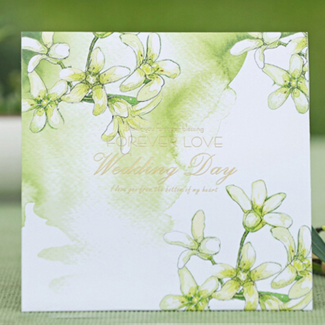 green wedding invitation card floral style forever love big day