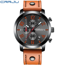 relogio masculino CRRJU Watch Men Military Quartz Mens Watches Top Brand Luxury Leather Sports Wristwatch Date Clock Chronograph цена и фото