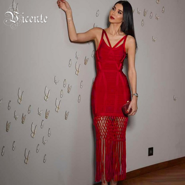 Vicente HOT 2018 Hot Luxe Inspired Hollow Grid Caged Tassels Embellished Gown Women Celebrity Maxi Long Bandage Dress
