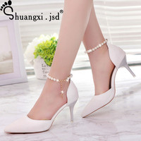 2017 Summer New Silver High Heels Shallow Mouth High 8CM Women Shoes Normal Size 34 39