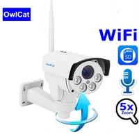 OwlCat Full HD 1080P Waterproof WiFi IP Camera PTZ 5X Zoom Surveillance Outdoor CCTV Camera Security Night Vision SD Card Slot