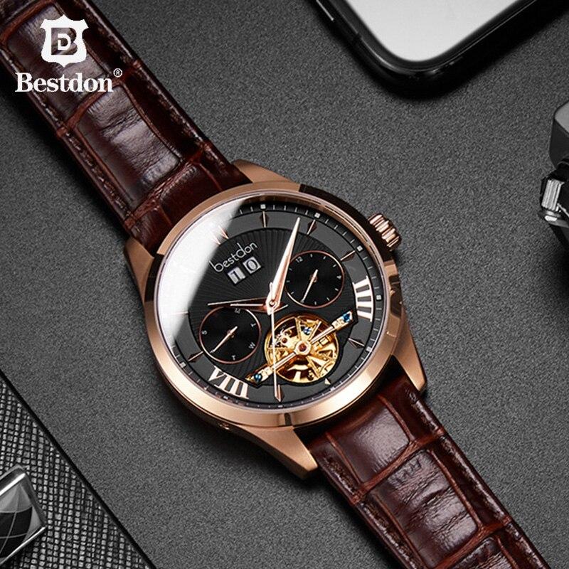 Bestdon 高級トゥールビヨンメンズ腕時計自動機械式スケルトン革時計バンド腕時計ブルー防水レロジオ masculino