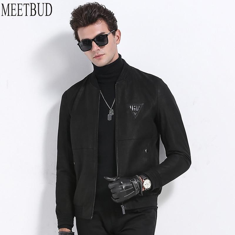 MEETBUD Men genuine leather jacket and coats slim fit autumn winter men baseball uniform goat skin jacket with zipper MEET128