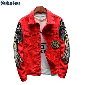 Sokotoo Men\'s trendy wings embroidery jean jacket Fleece or Unlined slim denim coat Black Red - DISCOUNT ITEM  27 OFF Men\'s Clothing