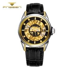 FNGEEN 8816 Moda Homens de negócios algarismos Arábicos Relógio Automático Oco Mecânica relógio de pulso top quality famoso relógio de couro