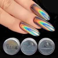 0,2g Holographische Glitter Laser Nagel Glitter Pulver Holo Regenbogen Einhorn Pulver Chrom Spiegel Pulver Staub Nail art Decor SF2014