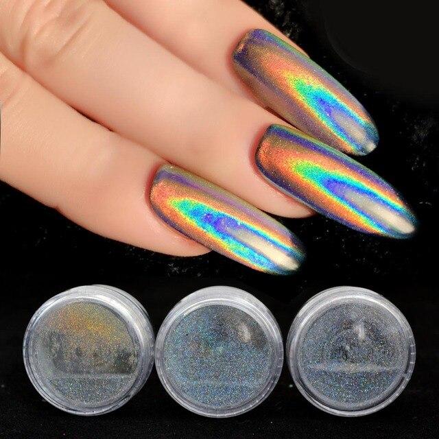 0.2g holográfico prego em pó unicórnio prego glitter holográfico em pó arco íris holo cromo unhas em pó arte sf2014