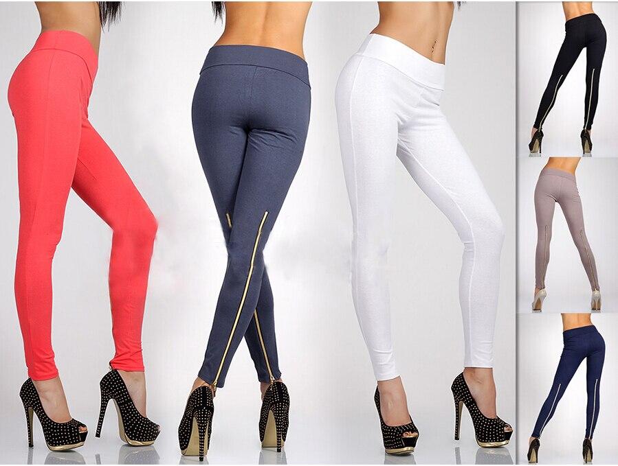 793a29b255c3b Women Girls Ladies Unique Trendy Full Length Leggings with Zipper High  Waist Jeggings Pants Stretchy Free Shipping M L XL-XXXL
