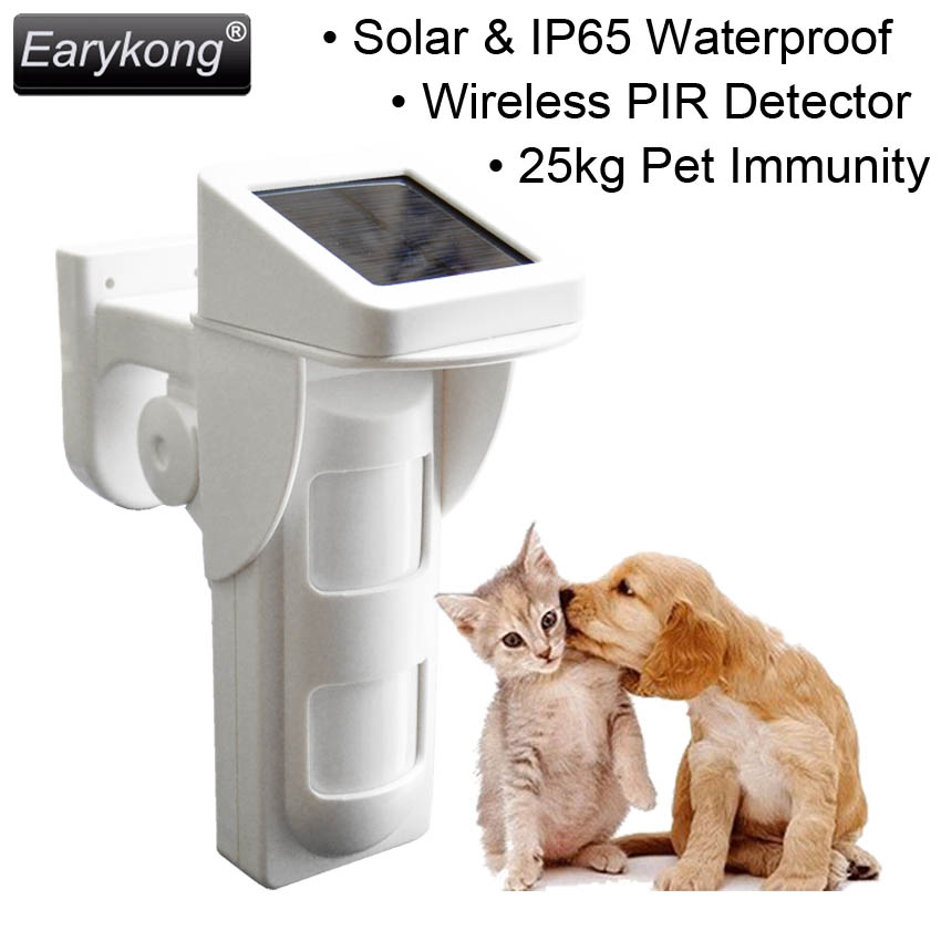 433MHz Solar Power Charge Infrared Detector, Pet Immunity Infrared Detector, Outdoor Waterproof. For Home Burglar Alarm Sysetm tes 1333 solar power meter solar power meters digital radiation detector solar cell energy tester