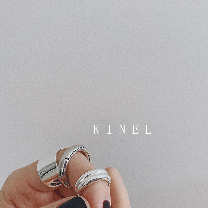 Kinel S925 Sterling Silver Chic English Logo Thick Ring Minimalist Wide Glossy Open Joint Tail Ring Antique Jewelry 2019 New