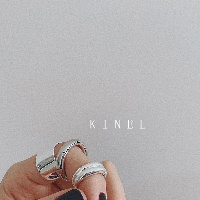 Kinel, Стерлинговое Серебро S925, шикарное, английское, с логотипом, плотное кольцо, минималистичное, широкое, глянцевое, открытое, открытое, с хвостом, кольцо, антикварное, ювелирное изделие, новинка 2019|Кольца|   | АлиЭкспресс