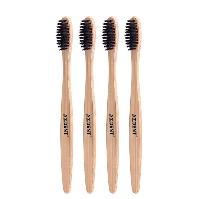 4 piezas PCs cepillo de dientes de bambú de madera AZDENT Nano ecológico cepillos  de dientes 1d57346685fe