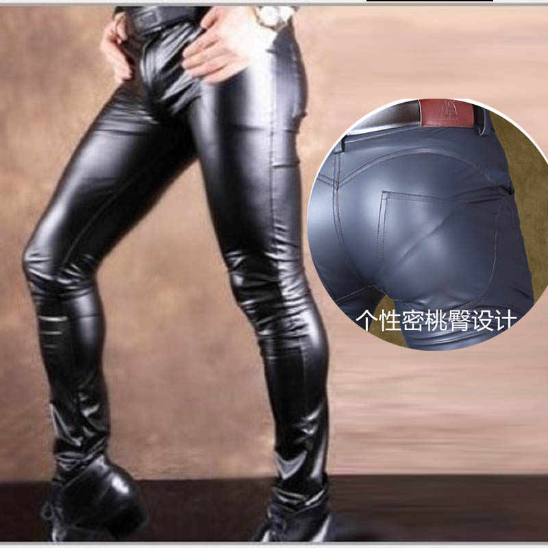 Sexy Men Skin-Tight Leather Pants With Peach Buttock PU Faux Leather High-Elastic Glossy Bootcut Stage Play Juniors Pencil Pants