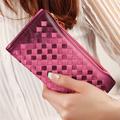 Women Weave Wallet Leather Card Holder Coin Purses Designer Gradient Color Female Wallet 2015 New Billeteras Carteira
