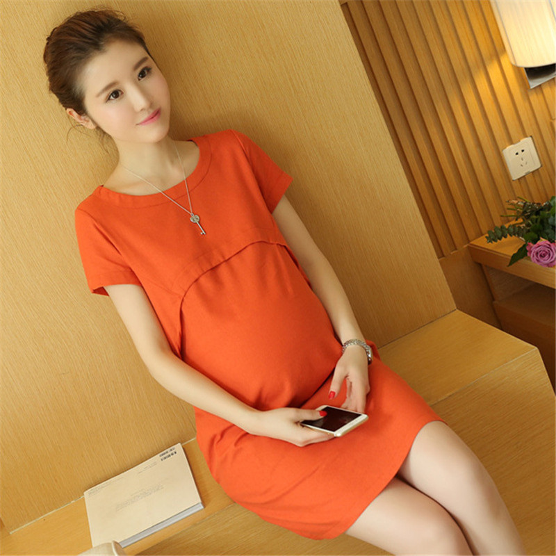 Summer Linen Loose Maternity Dress with Pocket Lactation Dress Breathable Solid Color Sh ...