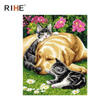 RIHE Dog With Cat Diy Painting By Numbers Animal Flower Oil On Canvas Hand Painted Cuadros Decoracion Acrylic Paint