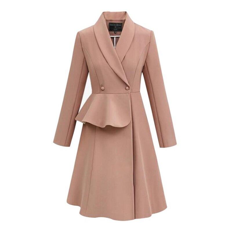 LANMREM 2018 New Fashion Notched Ruffle Patchwork Waist Skirt Hem Overcoat Female's Full Sleeve Personality   Trench   Vestido YF296