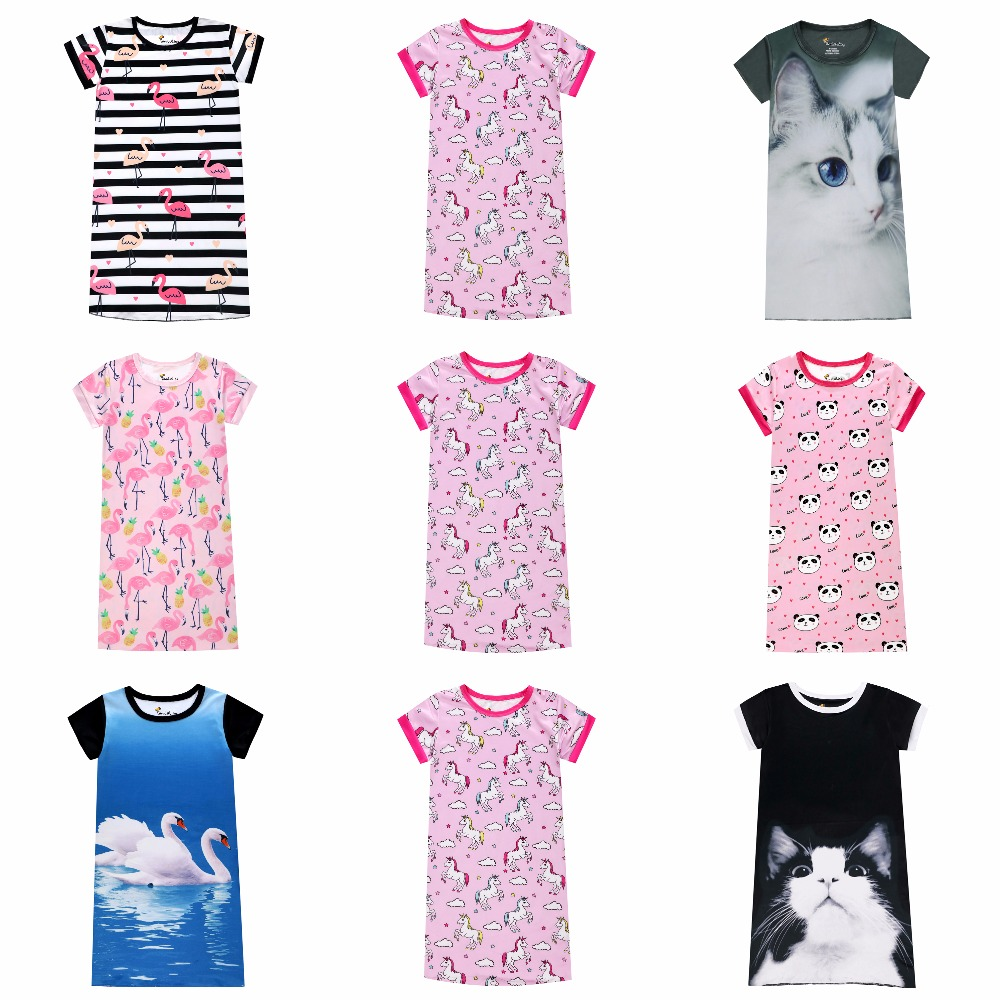 Girls Nightgowns Kids Nightdress Baby Sleepwear Summer Party Dresses 3D Cat Unicorn Panda Flamingo Swan Printed Dress For Girl