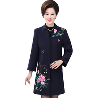 2018 Women Winter Coat Floral Flowers Stand Neck Loose Female Wool Cashmere Coats Elegant Fashion Fall Trench Coat XL 5XL XH1035
