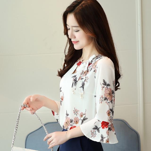 New flare Sleeve women Chiffon Shirt blouse 2018 Summer Fashion women's clothing sweet v-neck printing women blusas tops D278 30