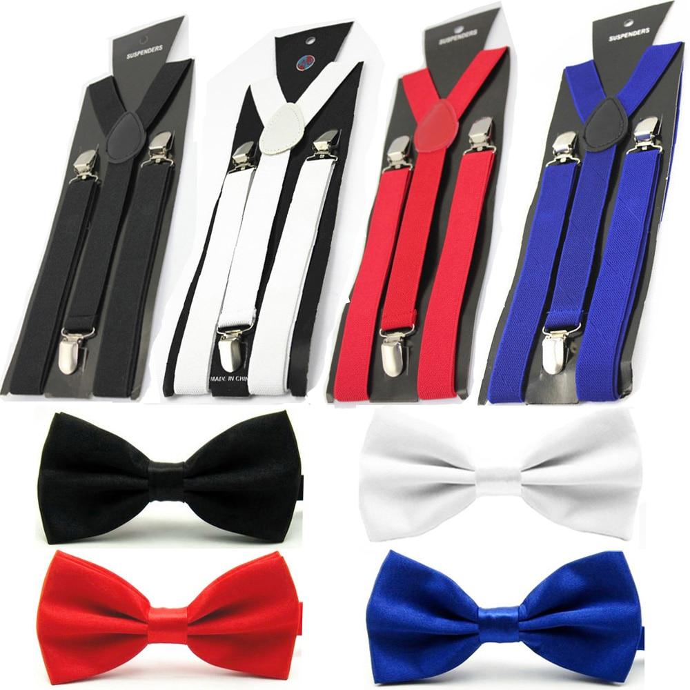 Men Solid Color Bowtie Elastic Y-Back Suspender Plain Bow Tie Brace Set Lot BWSET0506