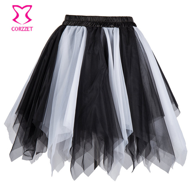 3c3fea5b2 Mix Colors Sexy Asymmetrical Mesh Mini Skirts Womens 2017 Summer Tutu Skirt  Women Petticoat Matching Corset