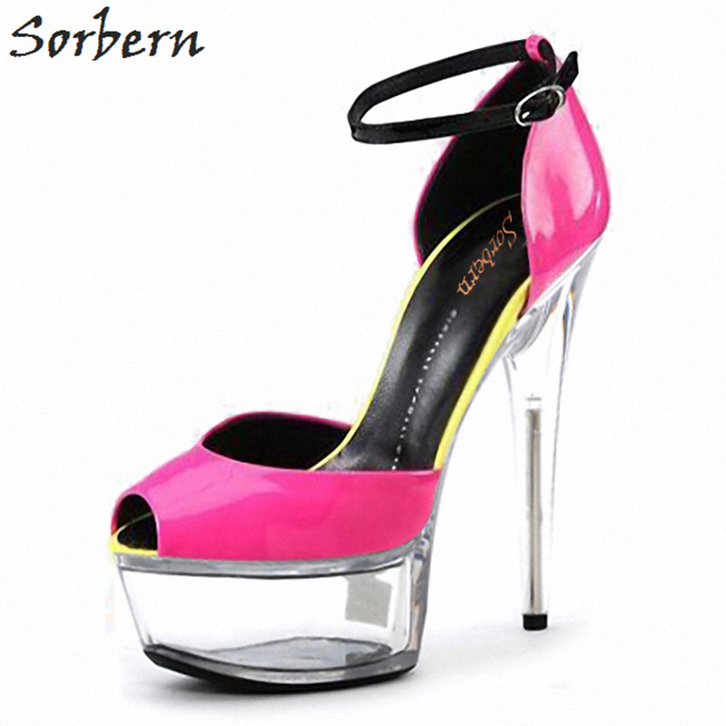 Sorbern 15Cm/17Cm Peep Toe Women Pumps Mary Janes Ankle Strap Shoes Women Custom Colors Sexy Fetish High Heel Pump Shoes New 18cm 7 stiletto fetish sharp toe mary janes ankle wrap high heel pumps spike metal high heel bondage bdsm latex high heels