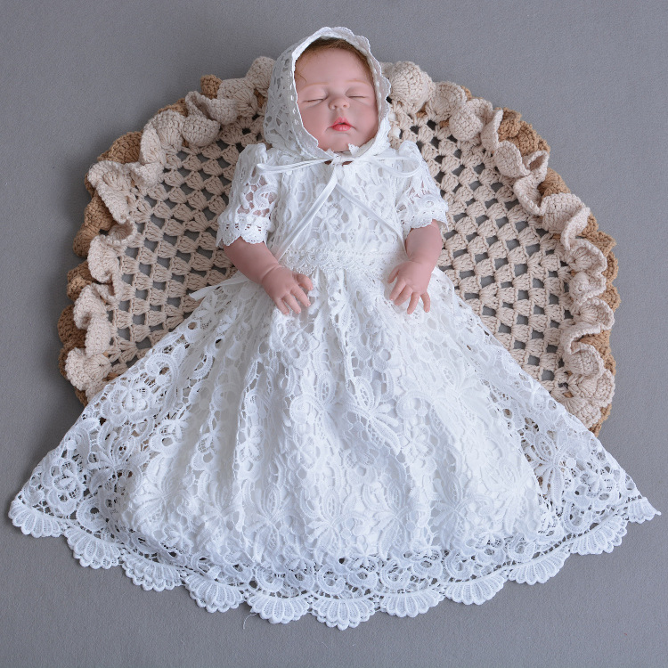 2018 New Vintage Toddler Girls Christening Full Dress with Hat White Lace Baby Girl Birthday Baptism Dresses Princess costumes2018 New Vintage Toddler Girls Christening Full Dress with Hat White Lace Baby Girl Birthday Baptism Dresses Princess costumes