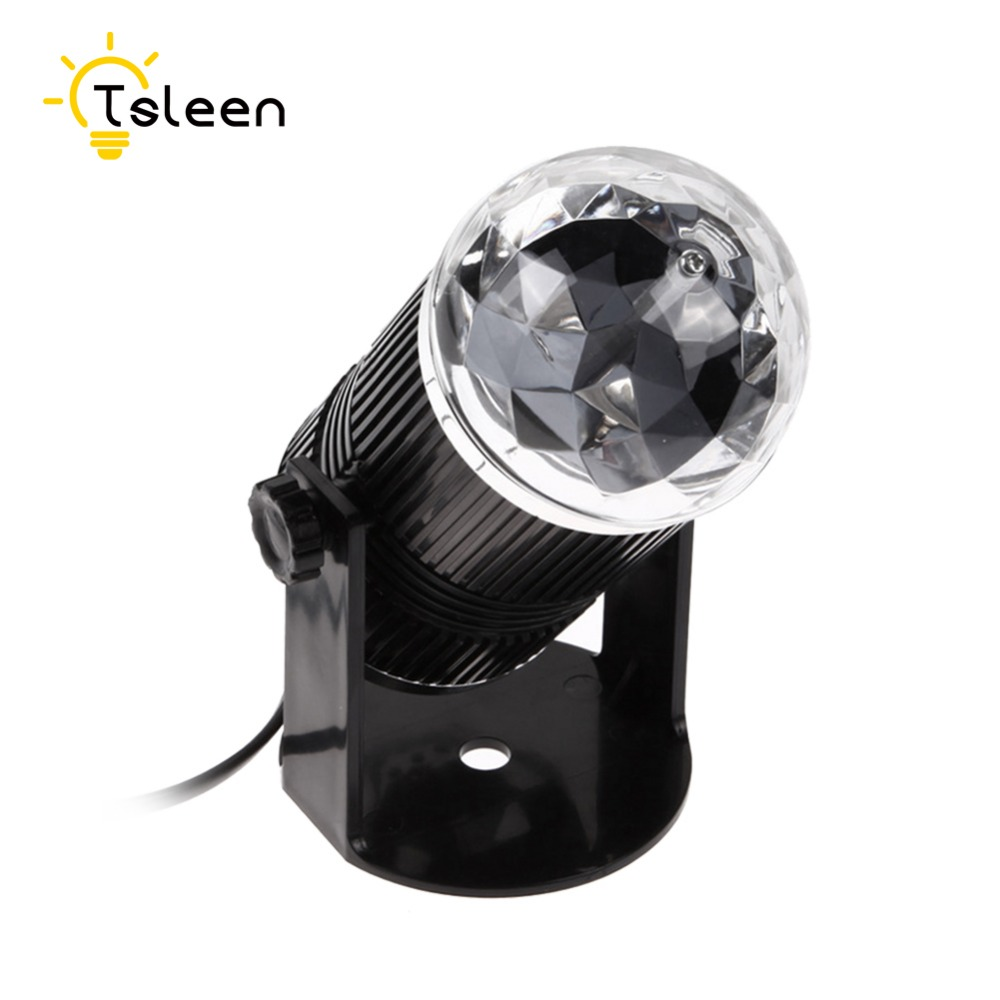 TSLEEN Auto Sound Activated LED Mini Crystal Rotating RGB LED Stage Lights for KTV Xmas Party Wedding Show Pub Disco Ball Effect
