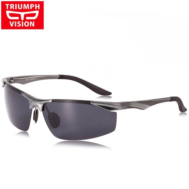 TRIUMPH VISION UV400 Polarized Sun Glasses For Men Driving Driver Polaroid Male Sunglasses Men Aluminum Magnesium Shades Brand