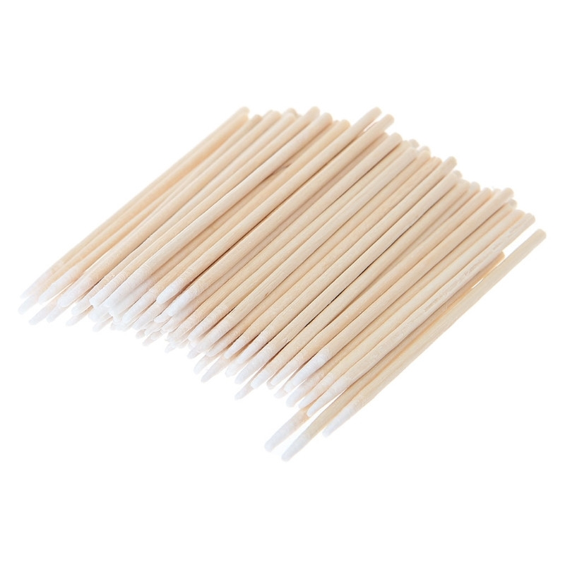 100PCS Short Mini Cotton Swabs Swab Applicator Q-tip Wood Handle Sturdy New