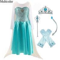 2018 Moda Özel Anna Elsa Kız Kız Elbise Prenses Elbise Çocuklar Parti Vestidos Bebek Çocuk Cosplay Elbise Düğün Giyim